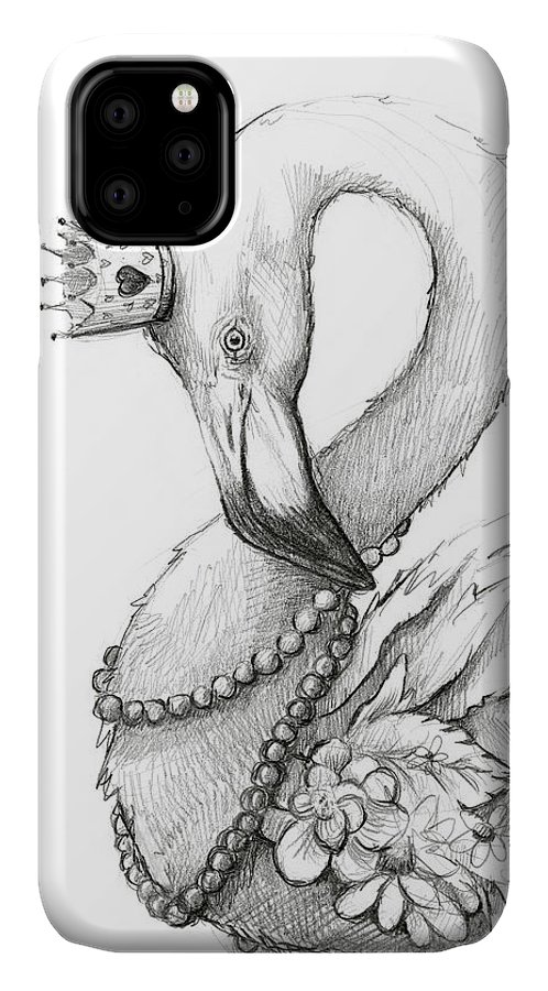 Flamingo IPhone 11 Case featuring the painting Flamingo In Pearl Necklace by Olga Shvartsur