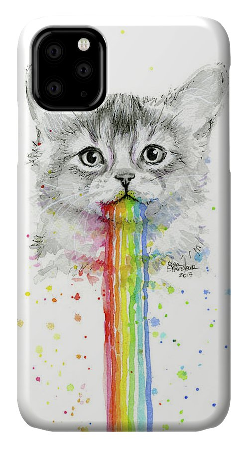 Kitten IPhone Case featuring the painting Kitten Puking Rainbows by Olga Shvartsur