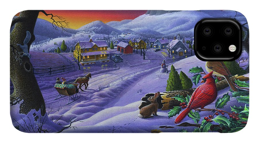 Christmas IPhone 11 Case featuring the painting Christmas Sleigh Ride Winter Landscape Oil Painting - Cardinals Country Farm - Small Town Folk Art by Walt Curlee