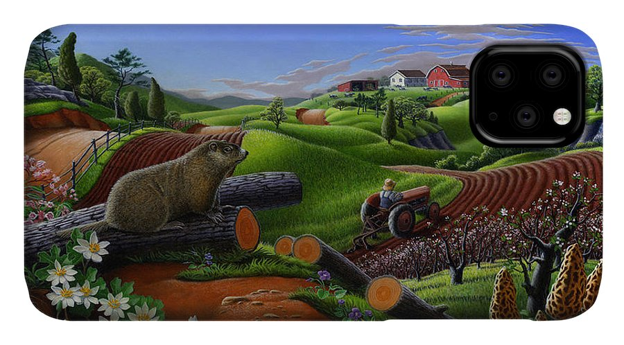 Farm IPhone 11 Case featuring the painting Farm Folk Art - Groundhog Spring Appalachia Landscape - Rural Country Americana - Woodchuck by Walt Curlee