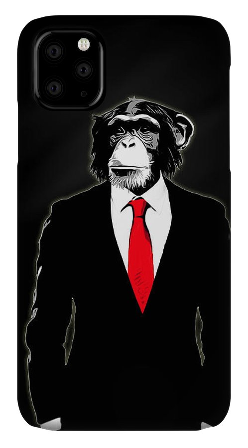 Monkey IPhone Case featuring the painting Domesticated Monkey by Nicklas Gustafsson