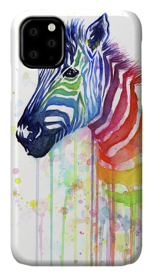 Rainbow IPhone Case featuring the painting Rainbow Zebra - Ode To Fruit Stripes by Olga Shvartsur