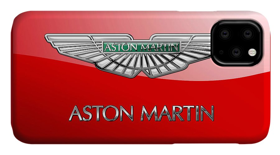 Wheels Of Fortune� Collection By Serge Averbukh IPhone Case featuring the photograph Aston Martin - 3 D Badge on Red by Serge Averbukh