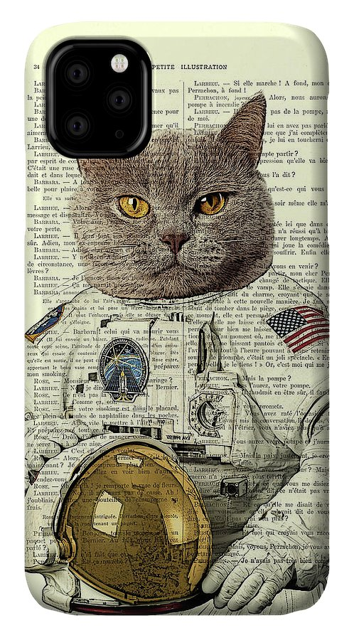 Astronaut IPhone Case featuring the digital art Astronaut Cat Illustration by Madame Memento