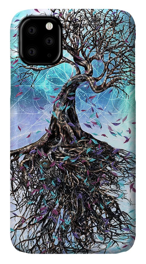 Tree IPhone Case featuring the mixed media At the Root of All Things by Chris Cole