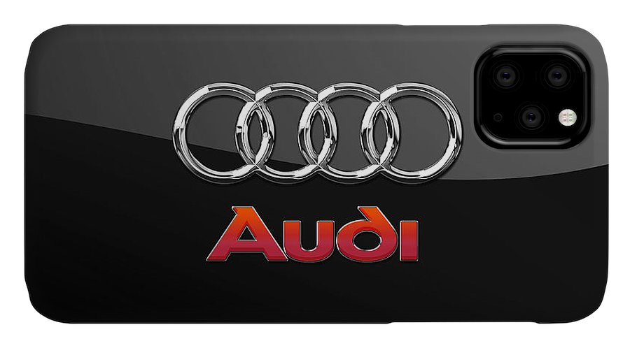 'wheels Of Fortune' Collection By Serge Averbukh IPhone Case featuring the photograph Audi 3 D Badge On Black by Serge Averbukh