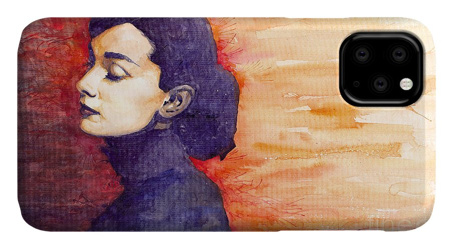 Watercolour IPhone 11 Case featuring the painting Audrey Hepburn 1 by Yuriy Shevchuk