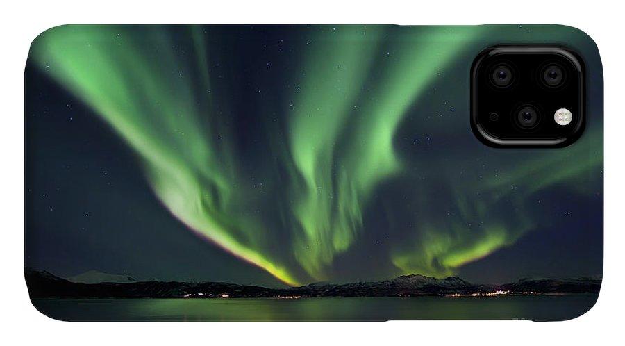 Aurora Borealis IPhone Case featuring the photograph Aurora Borealis Over Tjeldsundet by Arild Heitmann