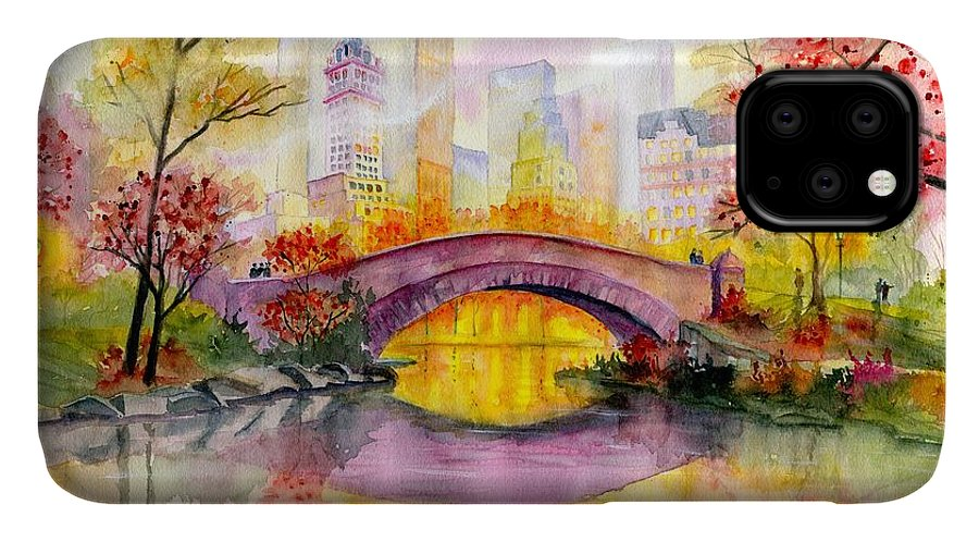 Autumn At Gapstow Bridge Central Park IPhone Case featuring the painting Autumn at Gapstow Bridge Central Park by Melly Terpening