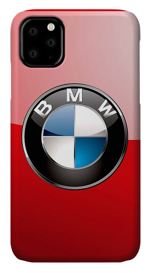 'auto Badges 3d' By Serge Averbukh IPhone Case featuring the photograph B M W Badge On Red by Serge Averbukh
