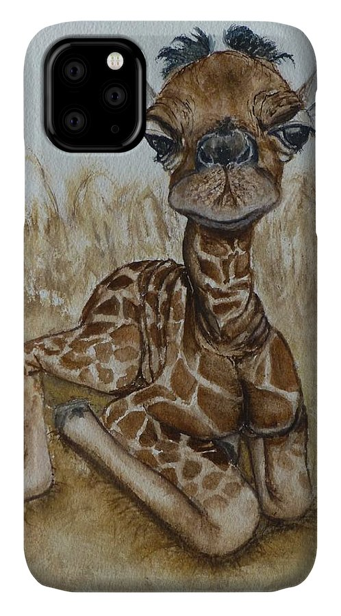 Baby Giraffe IPhone Case featuring the painting New Born Baby Giraffe by Kelly Mills
