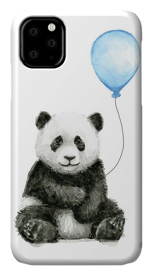 Baby Panda IPhone 11 Case featuring the painting Baby Panda With Blue Balloon Watercolor by Olga Shvartsur