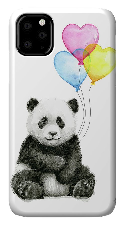 Baby Panda IPhone 11 Case featuring the painting Baby Panda With Heart-shaped Balloons by Olga Shvartsur