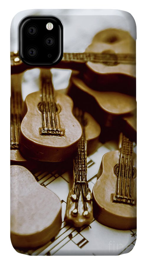 Music IPhone 11 Case featuring the photograph Band Of Live Acoustic Guitars by Jorgo Photography - Wall Art Gallery