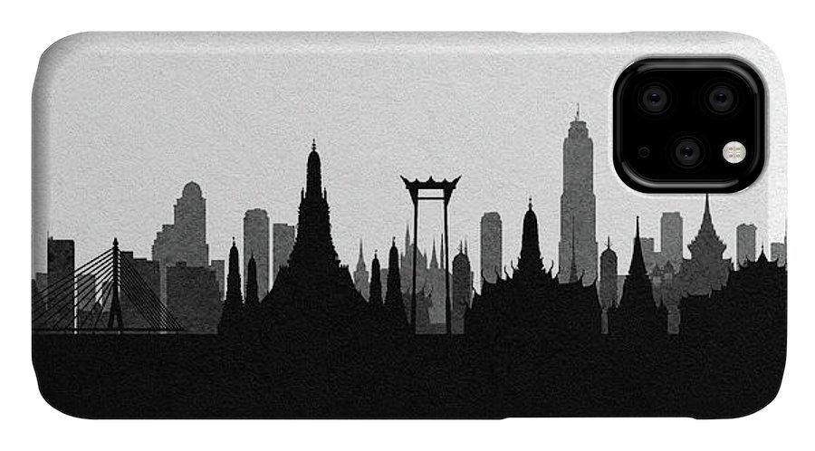 Bangkok IPhone Case featuring the digital art Bangkok Cityscape Art by Inspirowl Design