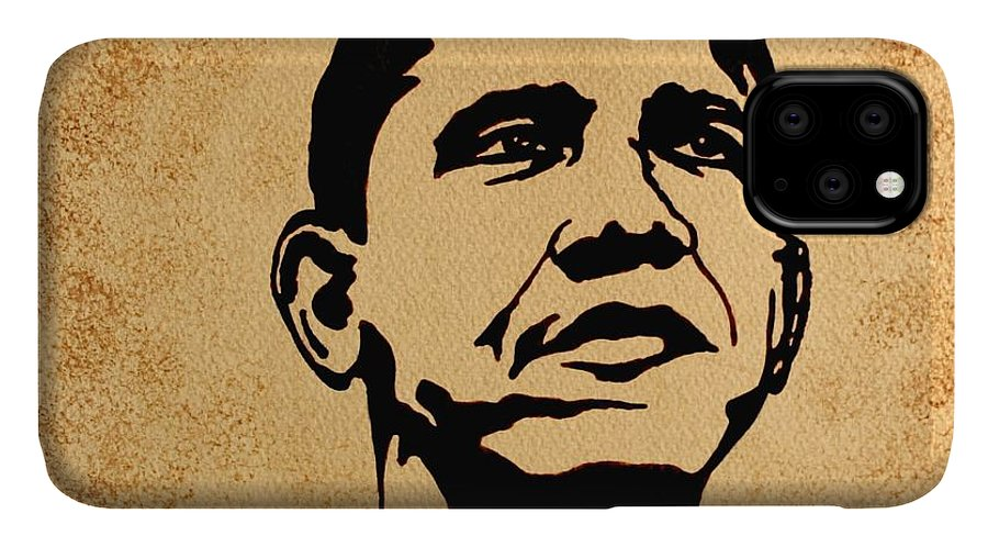Barack Obama Coffee Painting Pop Art IPhone Case featuring the painting Barack Obama Original Coffee Painting by Georgeta Blanaru