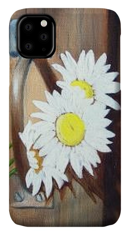 Rustic Barn Door With Metal Latch And Three White Daisies IPhone Case featuring the painting Barn Door Daisies SOLD by Susan Dehlinger