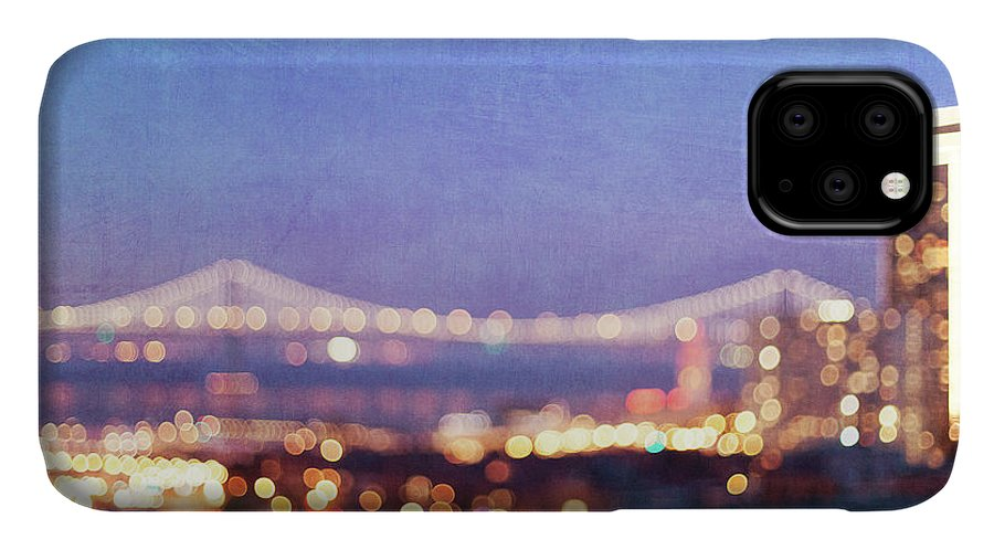 Abstract Photography IPhone Case featuring the photograph Bay Bridge Glow - San Francisco, California by Melanie Alexandra Price