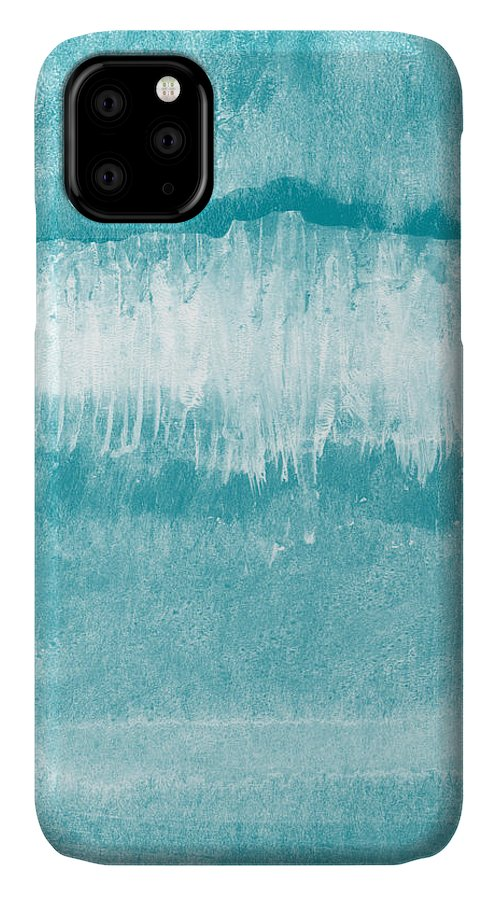 Abstract IPhone 11 Case featuring the mixed media Beach Day Blue- Art By Linda Woods by Linda Woods