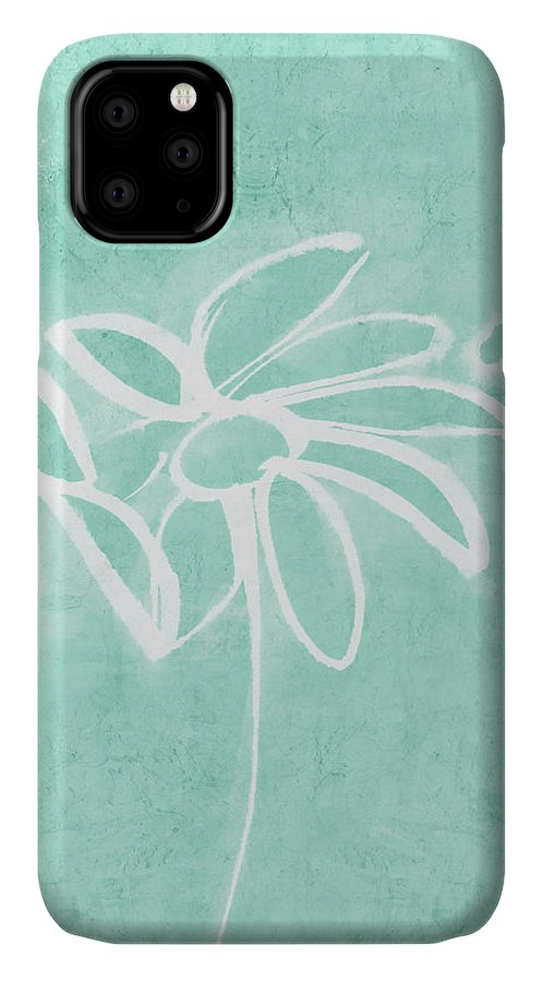 Flowers IPhone 11 Case featuring the mixed media Beachglass And White Flowers 3- Art By Linda Woods by Linda Woods