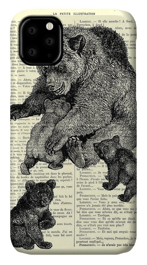 Bear IPhone Case featuring the digital art Bear And Cubs Black And White Antique Illustration by Madame Memento