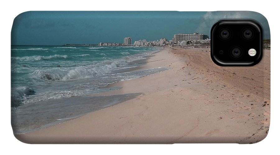 Beach IPhone 11 Case featuring the digital art Beautiful Beach In Cancun, Mexico by Nicolas Gabriel Gonzalez