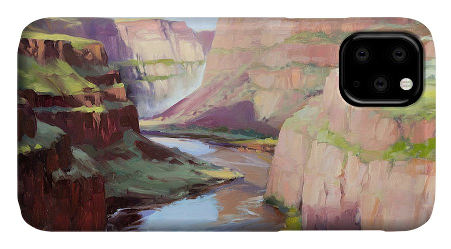 Waterfall IPhone 11 Case featuring the painting Below Palouse Falls by Steve Henderson