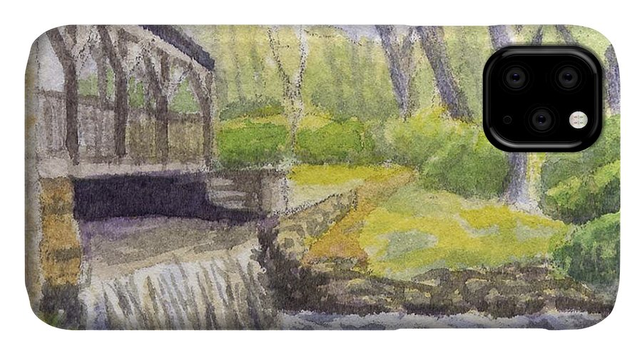 Moore State Park IPhone Case featuring the painting Beside The Dam by Sharon E Allen