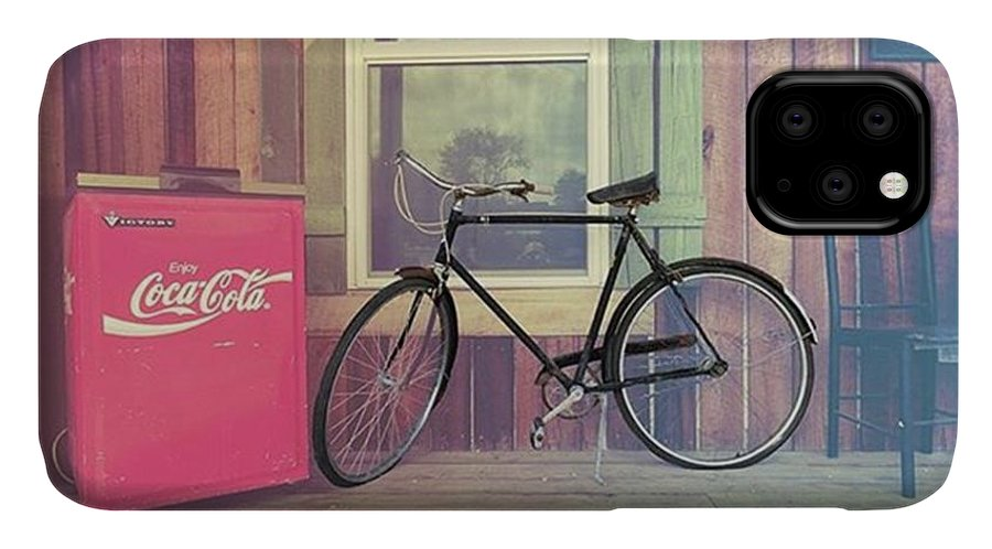 Ruralphotography IPhone Case featuring the photograph Bike By A Window Brighton Illinois by Larry Braun