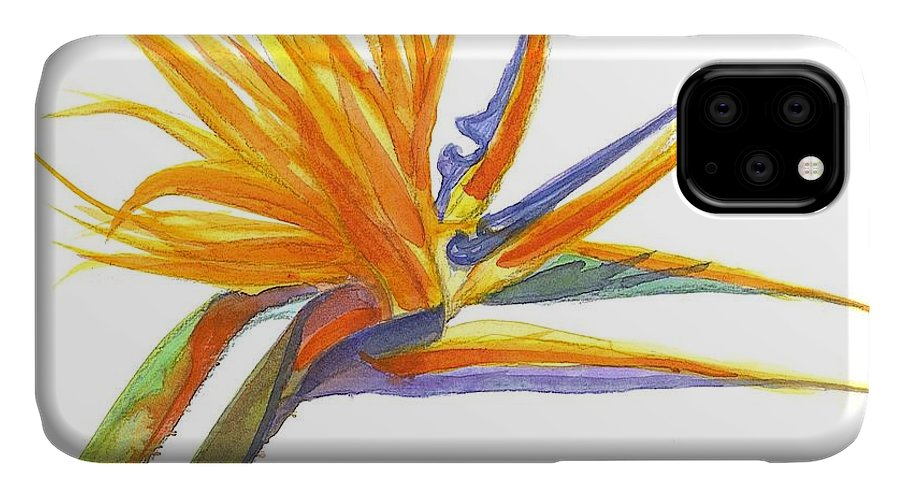 Bird Of Paradise IPhone Case featuring the painting Bird Of Paradise by Midge Pippel