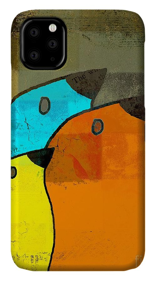 Orange IPhone 11 Case featuring the digital art Birdies - C02tj1265c2 by Variance Collections