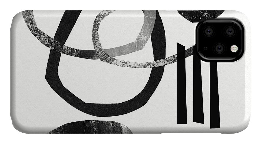 Black And White Abstract IPhone 11 Case featuring the mixed media Black And White- Abstract Art by Linda Woods