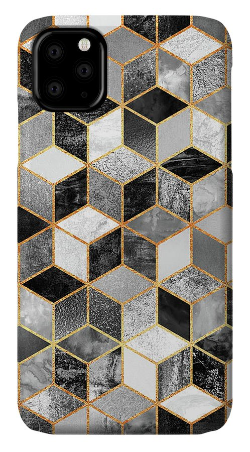 Graphic Design IPhone Case featuring the digital art Black and White Cubes by Elisabeth Fredriksson