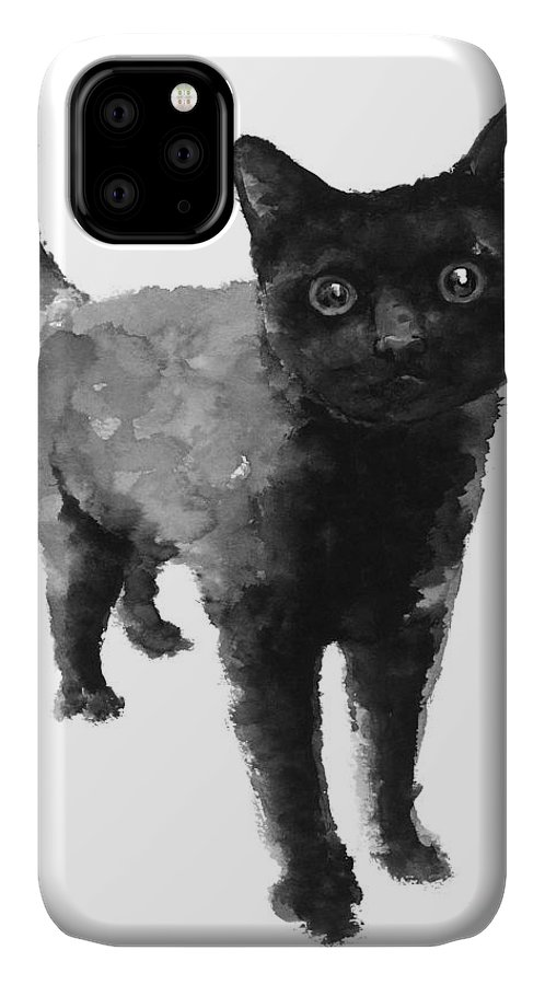 Cat IPhone Case featuring the painting Black cat watercolor painting by Joanna Szmerdt