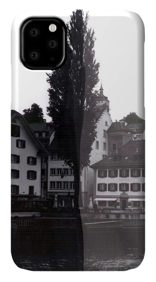 Black And White IPhone 11 Case featuring the photograph Black Lucerne by Christian Eberli