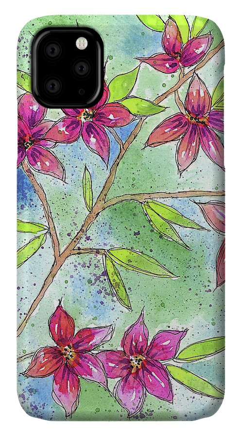Watercolor And Ink IPhone 11 Case featuring the painting Blooming Flowers by Susan Campbell