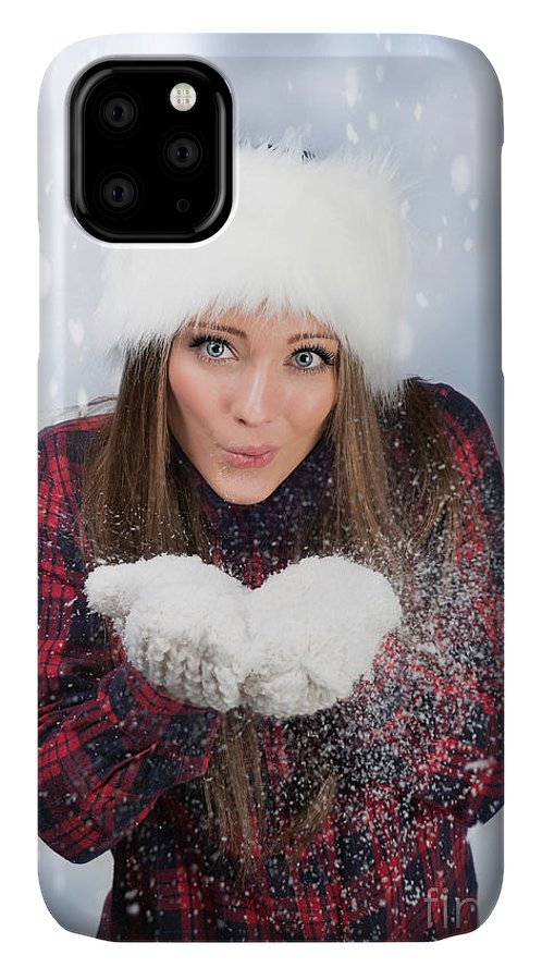 Young IPhone 11 Case featuring the photograph Blowing Snow In Winter by Amanda Elwell