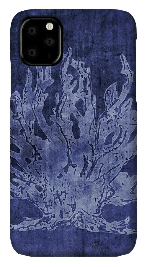 Indigo IPhone Case featuring the mixed media Blue Coral- Art By Linda Woods by Linda Woods