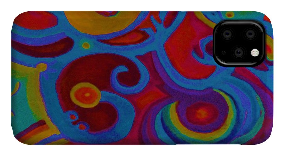 Abstract IPhone Case featuring the painting Blue Corn Flower by Sidra Myers
