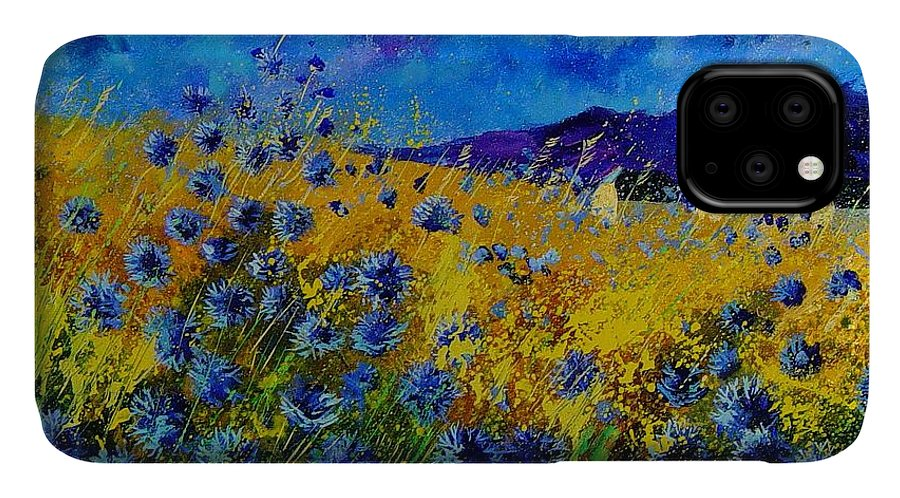 Poppies IPhone Case featuring the painting Blue cornflowers by Pol Ledent