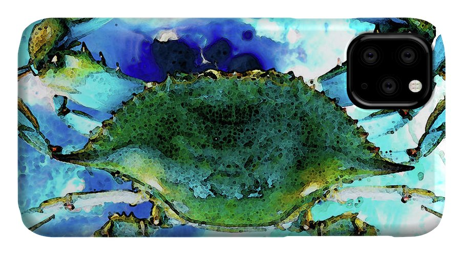 Crab IPhone Case featuring the painting Blue Crab - Abstract Seafood Painting by Sharon Cummings