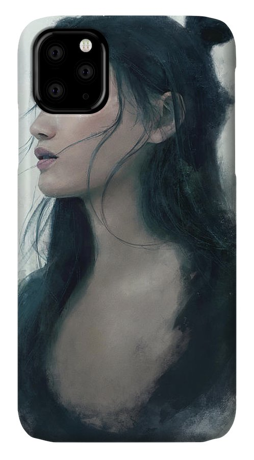 Warrioress IPhone Case featuring the painting Blue Portrait by Eve Ventrue