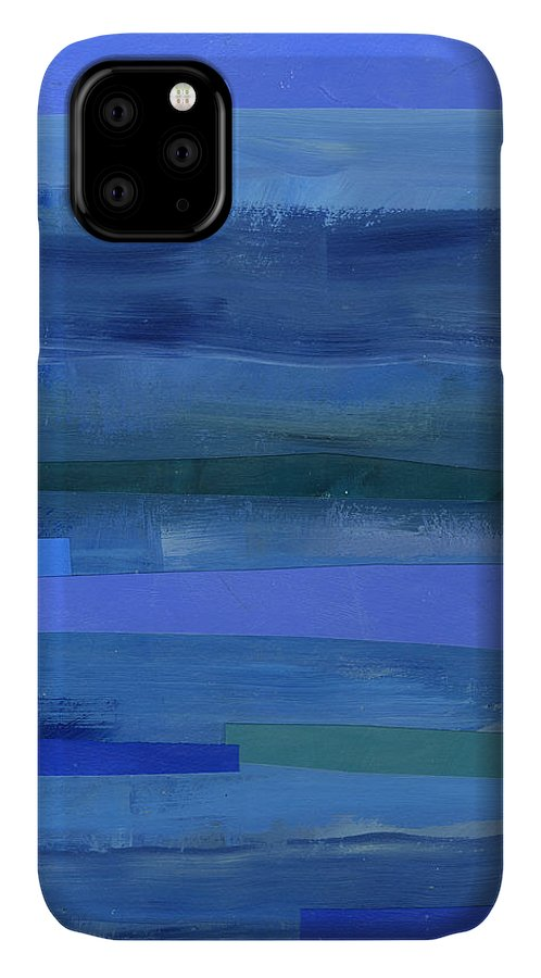Abstract Art IPhone Case featuring the painting Blue Stripes 1 by Jane Davies