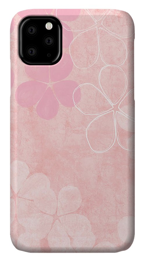 Flowers IPhone 11 Case featuring the mixed media Blush Blossoms 1- Art By Linda Woods by Linda Woods