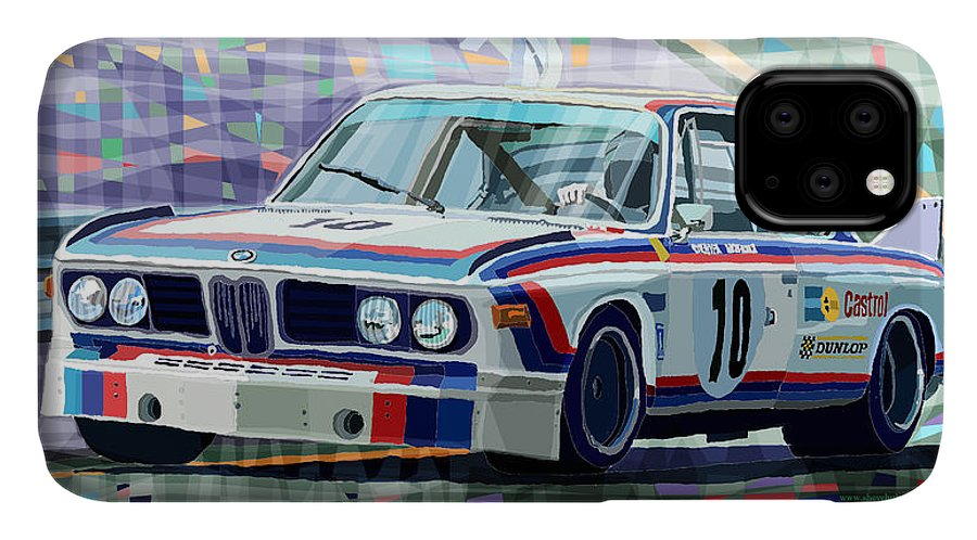 Automotive IPhone Case featuring the digital art Bmw 3 0 Csl 1st Spa 24hrs 1973 Quester Hezemans by Yuriy Shevchuk
