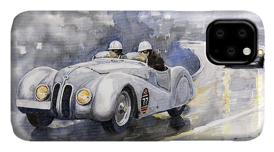 Auto IPhone Case featuring the painting Bmw 328 Roadster by Yuriy Shevchuk