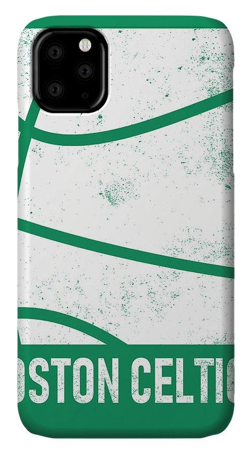 Celtics IPhone Case featuring the mixed media Boston Celtics City Poster Art 2 by Joe Hamilton