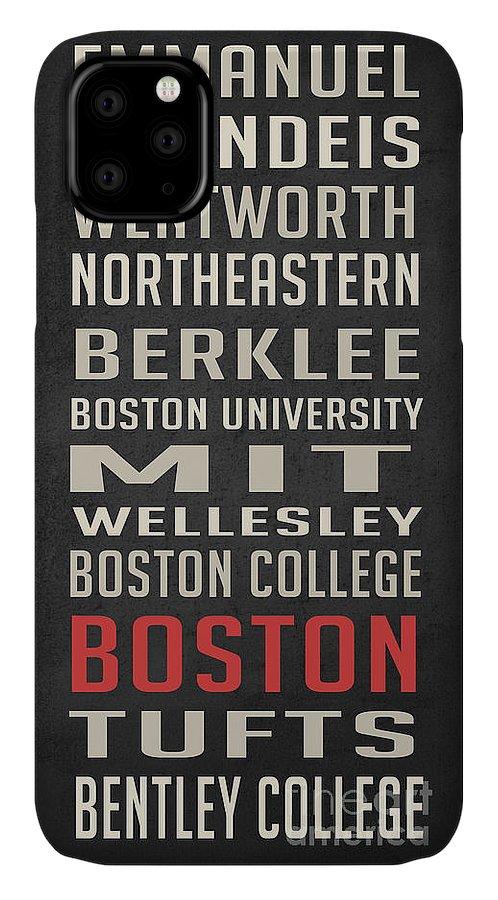 Bentley University IPhone 11 Case featuring the digital art Boston Collegetown by Edward Fielding