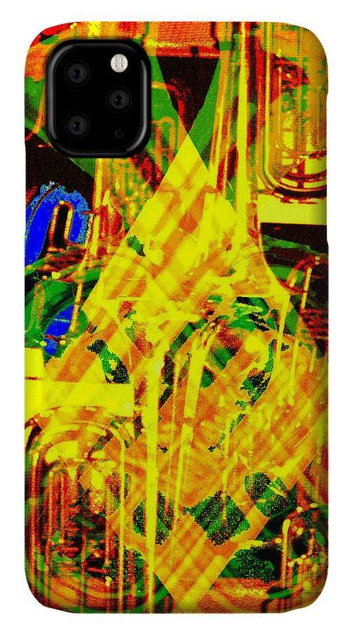 Festive IPhone Case featuring the digital art Brass Attack by Seth Weaver