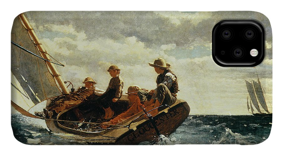 Breezing Up (a Fair Wind) 1873-76 (oil On Canvas) By Winslow Homer (1836-1910)boat IPhone Case featuring the painting Breezing Up by Winslow Homer